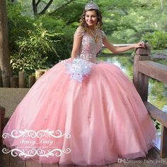 Vestidos De 15 Anos Pink Quinceanera Dresses With Tassels Sleeves Crystal Major Beading Puffy Ball Gown V Neck Sweet 16 Dress Party Pageant Quinceanera Collection Quinceanera Court Dresses From Fairy_lady, $158.67| Dhgate.Com
