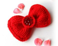 Crochet Brooch Crochet Red Bow Brooch Tie Pin от CraftsbySigita