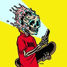 Selected work by Montreal-based artist MEKA. Art Patin, Art Surf, Art Sketches, Art Drawings, Pc Photo, L Wallpaper, Skate Art, Skateboard Art, Vintage Design