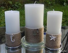 DIY: Beachy Candles - again, twine is big these days- would love to put our initials on the candles