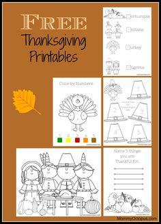 Free Thanksgiving Printables for Kids