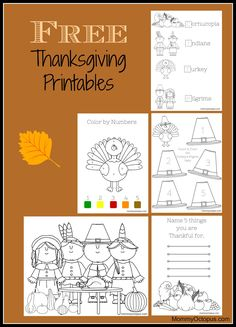Thanksgiving activity.... FREE printable Thanksgiving activity sheets for kids.