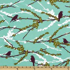 Aviary 2 Sparrows Plum from @fabricdotcom  Designed by Joel Dewberry for Free Spirit Fabrics, this design includes colors of plum, sage, white and mint.  Use for quilting and craft projects.