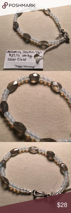 """NWT FourElements BeadWorks Labradorite bracelet Lovely faceted labradorite and sparkly Seaopal bracelet. 7 1/4"""" Long.  NEW WITH TAGS. """"Foggy Morning"""" goes with everything!   Sterling Silver hook and eye clasp. From my workbench 👋🏼 FourElements BeadWorks Jewelry Bracelets"""