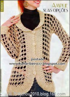 Katia Ribeiro Acessórios: Casaco em crochê com receita e gráfico  Pretty filet crochet lace stitch jacket!