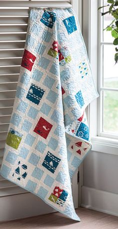Sew this quilt using two different, but equally easy, blocks. Inspired by sailing, Square Knots is a simple quilting pattern that gifts well.
