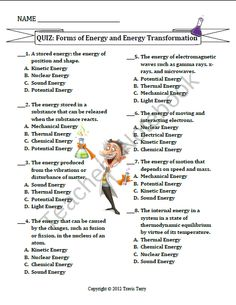 Energy Transformation Card Game (or Card Sort) Formative ...