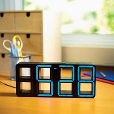 blue led alarm clock  this is awesome I want :)