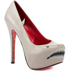 I know I shouldn't love these but I do. Shark with gold tooth? Sexy cartoon ladies on the soles of my shoes? Sharkie+Heels+Gray,+$149, now featured on Fab.