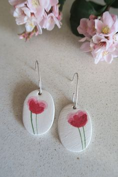 I love creating small pieces of art you can wear every day Red Poppies, Crochet Earrings, Original Art, Art Pieces, Hand Painted, Ceramics, Drop Earrings, Sterling Silver, My Love