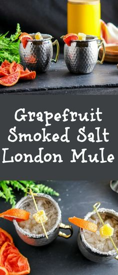 This cocktail spins the classic Moscow Mule by using gin, grapefruit and smoked salt to create a Grapefruit Smoked Salt London Mule Gin Cocktail. Easy Drink Recipes, Best Cocktail Recipes, Punch Recipes, Vegan Recipes Easy, Smoothie Recipes, Smoothies, Fun Cocktails, Fun Drinks, Yummy Drinks