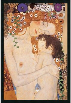 """0-028519>25x37"""" Gustav Klimt Three Ages of Woman Mother and Child 1905 Framed Print"""