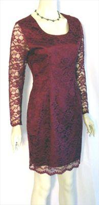 Burgundy 80s Floral Lace Dress #dress #vintage #80s