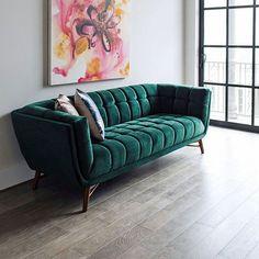 Tribeca Mid-Century Modern Green Velvet Sofa for Living Room - Couch – Edloe Finch Furniture Co. Sofa Bed Design, Living Room Sofa Design, Living Room Designs, Couch For Bedroom, Sofa Furniture, Luxury Furniture, Velvet Furniture, Sofa Sofa, Sofa Bench