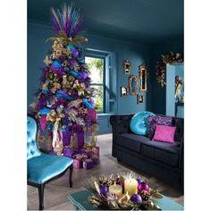 Purple pink blue gold christmas decor