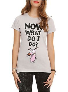 "Fitted grey tee from <i>Courage The Cowardly Dog</i> with a distressed ""Now What Do I Do?"" design."