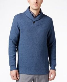 Tasso Elba Men's Big and Tall Heather Shawl-Collar Sweater, Only at Macy's  - Blue 4XLT
