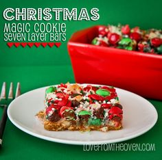 Christmas Magic Cookie Bars from Love From The Oven on inkatrainskitchen.com