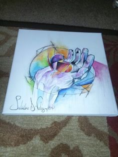 """Water color style heart in hand _ Finished product  Cotton canvas 12 in. X 12in. (305mm x 305mm ) Medium : water colour / micron pen / colored pencils Title : """" el dolor de corazón"""""""