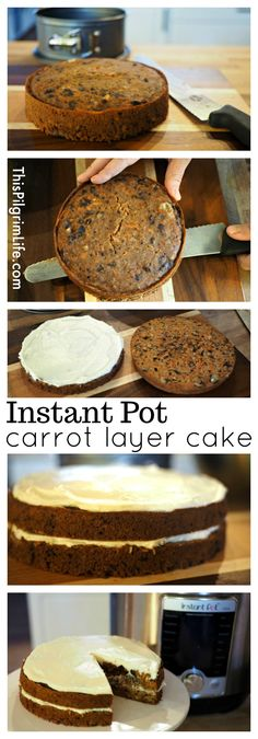 Enjoy a rich spiced carrot cake with a sweet creamy frosting curtesy of the Instant Pot! Plus it's gluten-free naturally sweetened with no butter or oil so you don't need to feel bad about that second piece! Instant Pot Pressure Cooker, Pressure Cooker Recipes, Pressure Cooking, Slow Cooker, Sans Gluten, Gluten Free, Cake Recipes, Dessert Recipes, Yummy Recipes