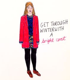 Winter Coat: Red Coat, Illustration, Fashion Illustration, Street Style, Drawing