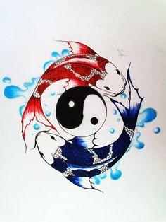 Ying Yang, Yin Yang Koi, Yin Yang Tattoos, Pisces Tattoos, Fish Drawings, Cool Art Drawings, Koi Fish Drawing, Koi Fish Tattoo, Japanese Artwork