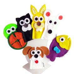 Dedoches Animais Domésticos / Estimação    ITENS: 6 DEDOCHES: gato, cachorro, tartaruga, peixe, rato e coelho. Valor referente ao kit com as 6 personagens.    DIMENSÕES: 5 x 8 cm, em média, cada.  MODELO: Fantoche de dedo / Dedoche.  MATERIAL: Feltro e linha. Pode haver variação de tons e cores. ...