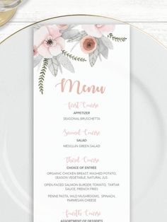 Palm Leaves Wedding Food Menu Tropical Wedding Menu Card Design