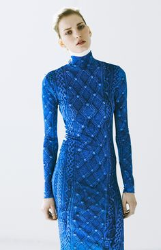 Cable knit print. Beautiful Blue.
