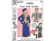 1940's Suit with blouse B35 PDF sewing pattern | Etsy