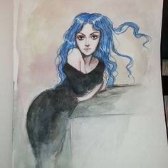 """""""One sketch leads to another. Karou from Daughter of Smoke and Bone by Laini Taylor Even though I assume everyone watching me knows who this is and where she is from I still like to name the character and book. I just hate coming across some interesting character but not finding any clue as to where to look to learn more about them. Always label things, people! It's just nice."""" by the lovely lesyablackbirdink of course"""
