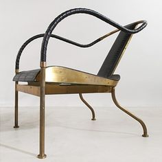 MATS THESELIUS    El Rey lounge chairs, pair    Kallemo  Sweden, 1999  patinated brass, embossed leather  22 w x 29.25 d x 28 h inches