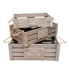 3 Cajas de madera SET FAMILY