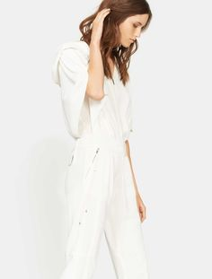 2576024e0fa Cape Sleeve Tape Detail Jumpsuit with Hood in Cream