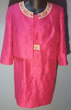 Kasper ~French Pink~ Set w INCREDIBLE Gold Trim Jacket & Shift Dress PETITE 12P #Kasper #JacketDress #Cocktail