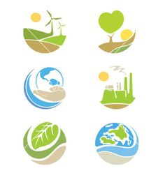 The logos on the theme ecology on VectorStock
