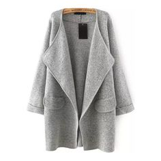 Grey Lapel Long Sleeve Loose Sweater Coat (€26) ❤ liked on Polyvore featuring outerwear, coats, jackets, coats & jackets, lapel coat, long sleeve coat, gray sweater coat, sweater coat and grey coat