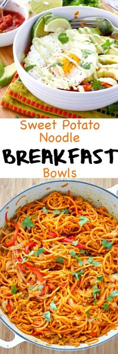Sweet potato noodle breakfast bowls are healthy and fun to eat! You can do most of the prep work ahead of time, so they are perfect for busy mornings. {Dairy-Free, Gluten-Free, Paleo, Whole30}
