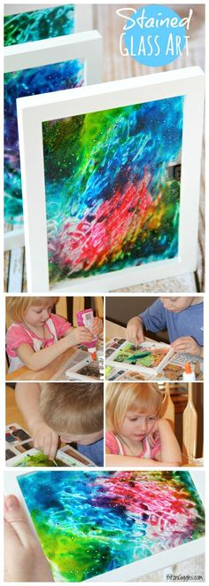 Stained Glass Art - A super simple project that uses glue and food coloring to produce breathtaking results!