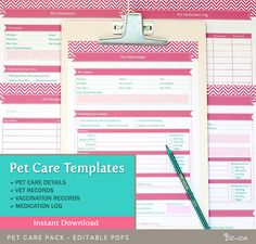Pet Care Records Templates: Keeping and managing records is a must for pet owners.