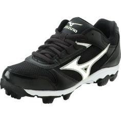 SALE - Womens Mizuno Franchise G4 Softball Cleats Black Leather - Was $44.99 - SAVE $5.00. BUY Now - ONLY $39.99