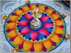 Making Rangoli designs at your house during any event is what everyone tries to achieve. Here are 75 simple rangoli designs for 2020 that are easy to make and will look the best with minimal efforts. Best Rangoli Design, Rangoli Designs Latest, Rangoli Designs With Dots, Beautiful Rangoli Designs, Rangoli Patterns, Rangoli Ideas, Rangoli Designs Diwali, Diwali Rangoli, Satisfying Pictures