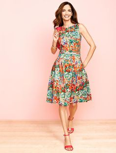Think Pretty! Our favorite spring dresses are here. Isn't our Impressionist Floral Fit-And-Flare Dress so pretty?