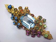 THE BEST 1950's Vintage MIRIAM HASKELL Colored RHINESTONE & Brass PIN vanitysugarbush(seller) ebay.com