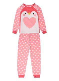 Girls Girls Pink Fleecy Penguin Pyjamas (2-12 years) | Tu clothing