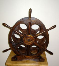 Nautical Ship's Wheel Wine Bottle Holder by SeaMyNauticalVintage