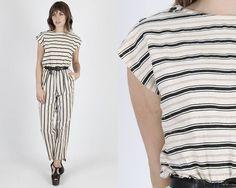 Vintage Jumpsuit 80s Jumpsuit Striped Jumpsuit Boho Jumpsuit