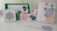 A complete kit with gift tags, 3x3 and regular sized cards. All in a beautiful box. The stamp set used was Mixed Bunch by Stampin' UP.