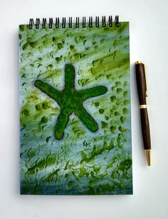 FREE SHIPPING; Spiral bound notebook/journal for writing, sketching, doodling; Cover is Hand Painted with Acrylic; Bound with Wire at Top by KatStudioGallery on Etsy