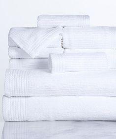 White 10-Piece Egyptian Cotton Towel Set